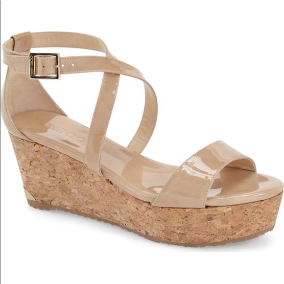 ba4fb84bee03 Jimmy Choo Portia 70 Patent Cork Wedge Sandal nude